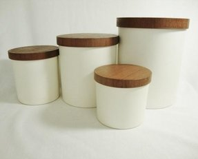 White canisters with wooden lids 7
