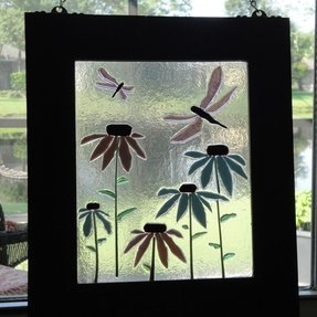 Art coneflower dragonfly hanging flower fused stained glass window
