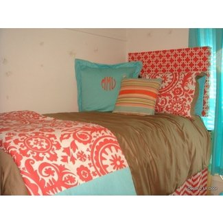 Coral and cream bedding