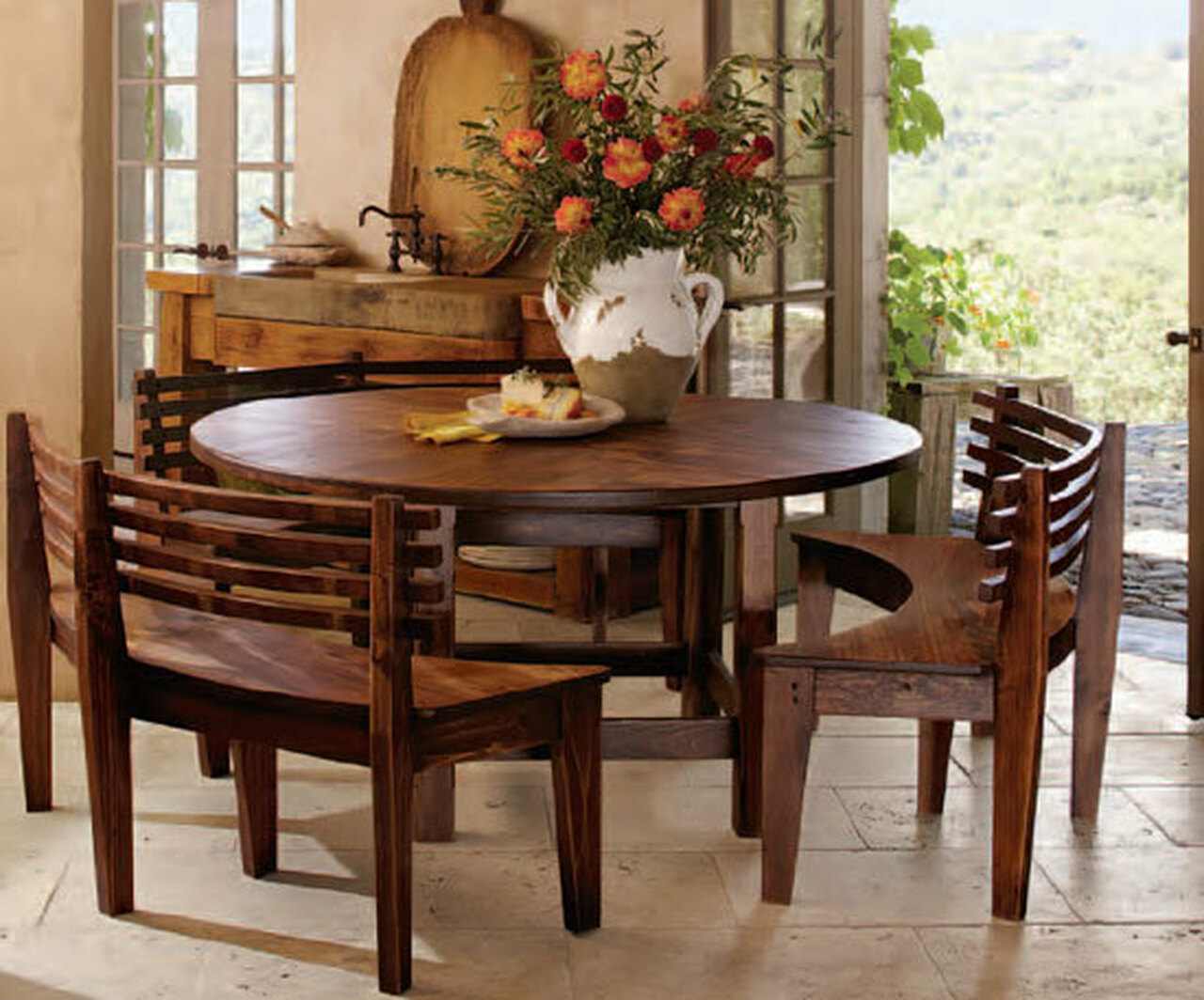 Superieur Dining Sets With Benches Wooden Round Table Wooden Curves Benches
