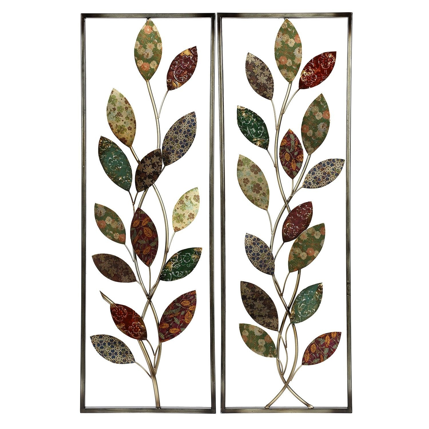 Lacquered Leaf Metal Tree Wall Decor Set 2