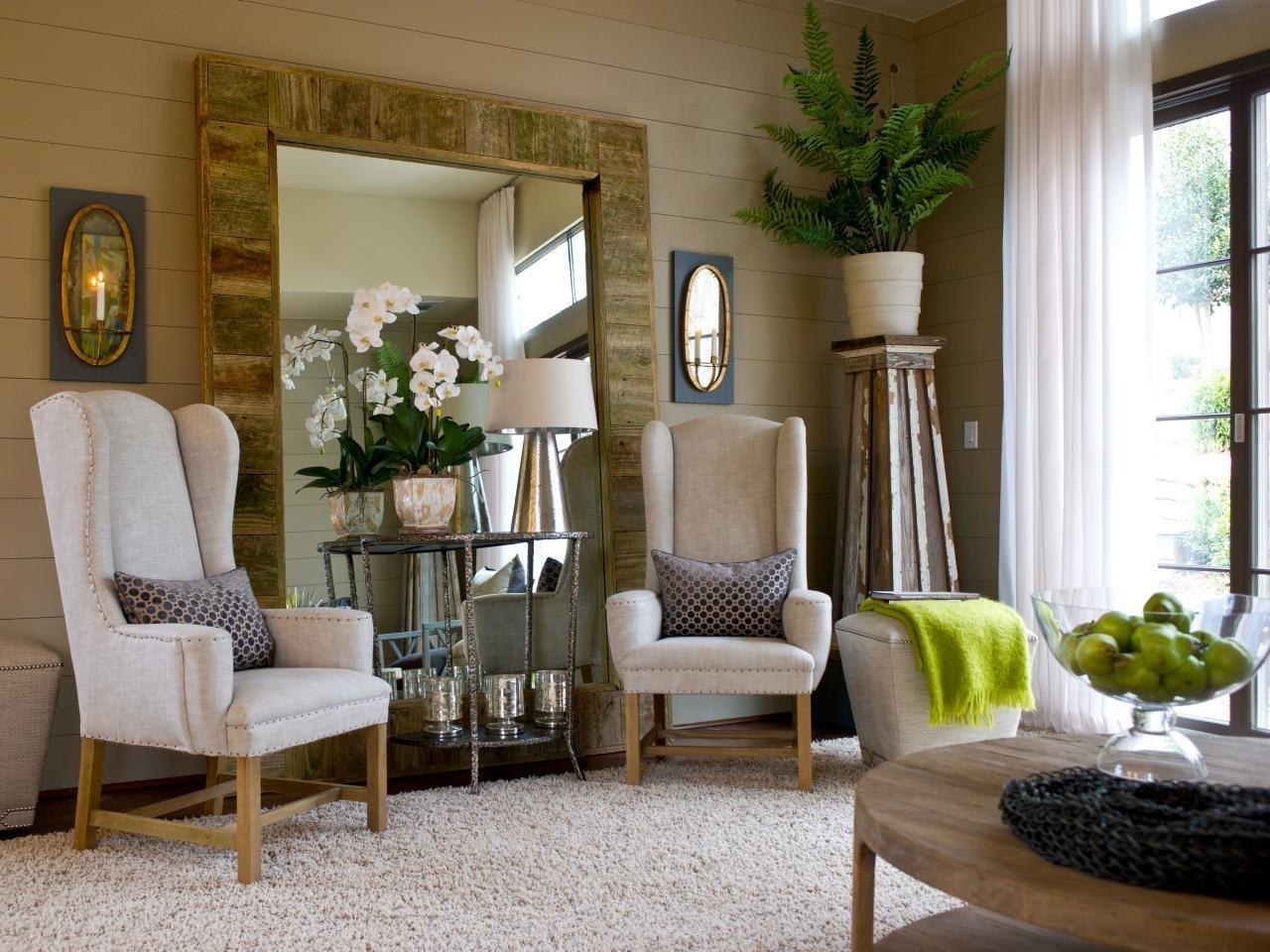 Delightful Large Floor Mirror For Elegant Living Room Designs