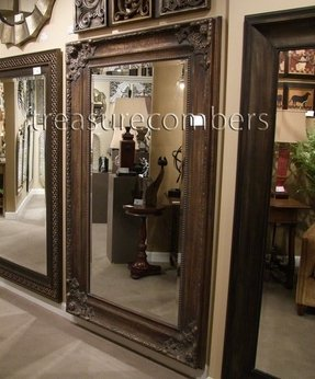 Ornate 75 old world deep bronze wall floor mirror large