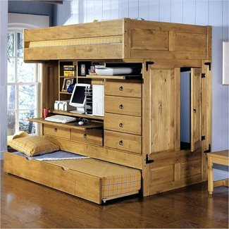 All in one bunk bed with desk