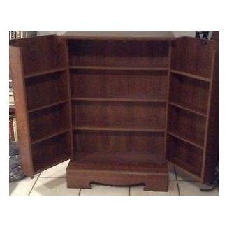 Beautiful Dark Wood Dvd Vhs Cd Locking Cabinet Storage