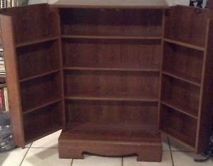 Beautiful Dark Wood Dvd Vhs Cd Locking Cabinet Storage Beautiful