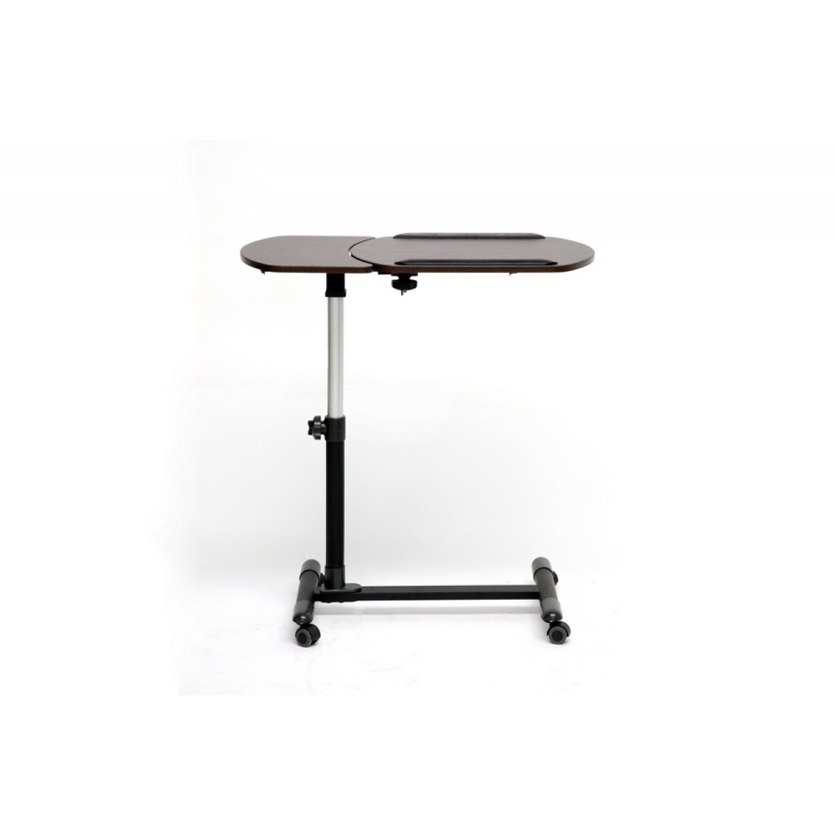 Attirant Brown Wheeled Laptop Work Table Tv Tray Tilt Control Adjustable