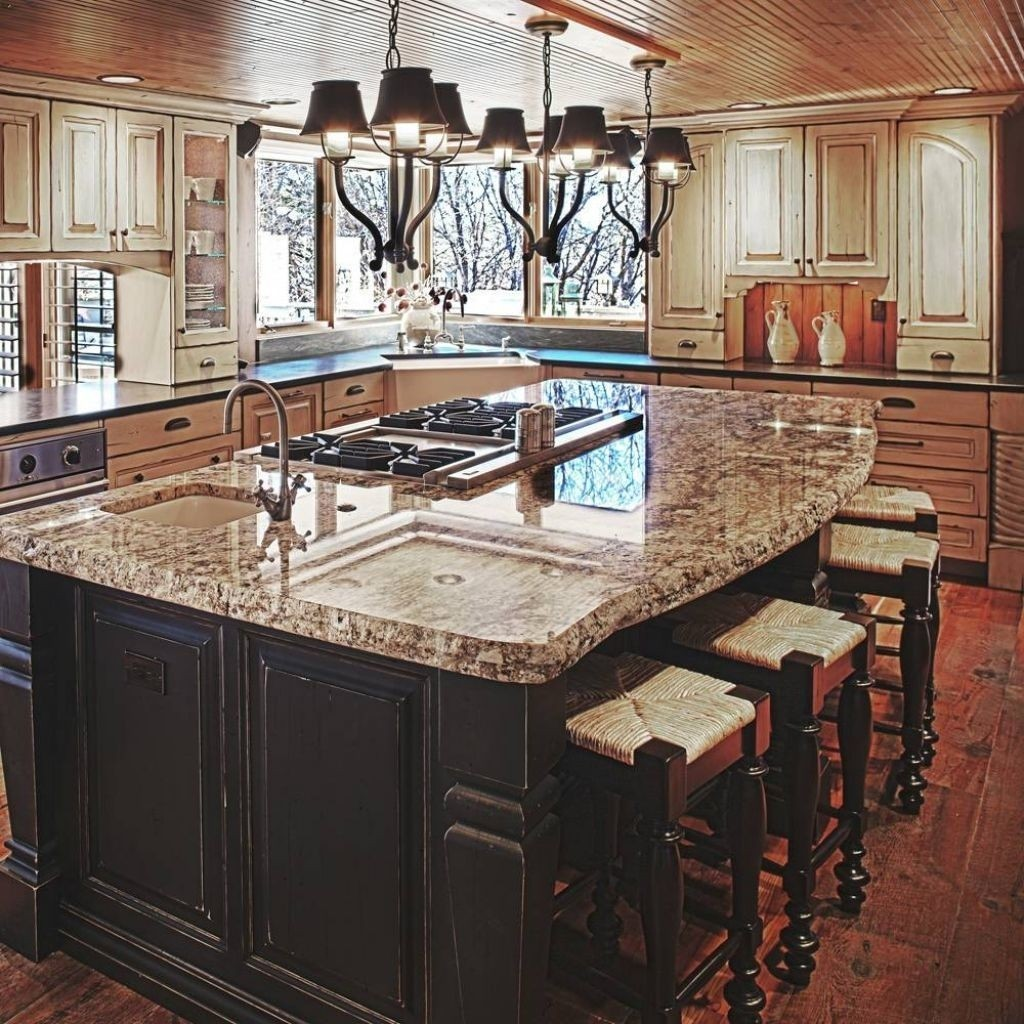 Deluxe Kitchen Island With Granite Top And Breakfast Bar The