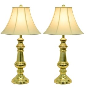 Hunt and company touch control polished brass table lamps set