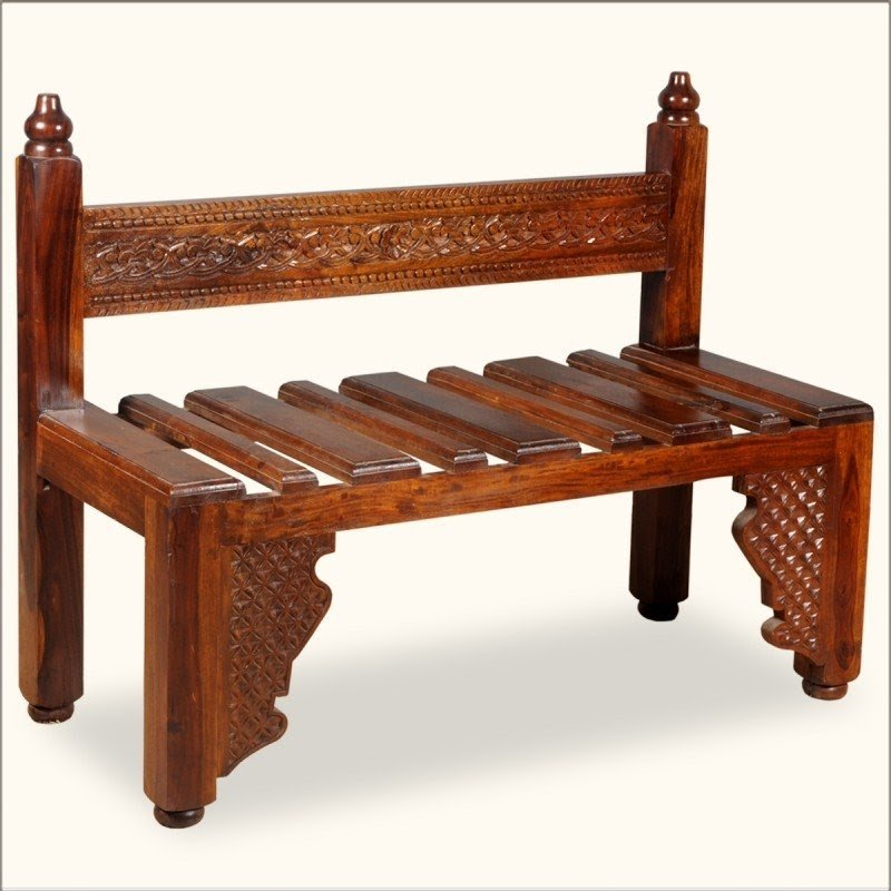 Options Ornate Hand Carved Solid Wood Garden Patio Bench With