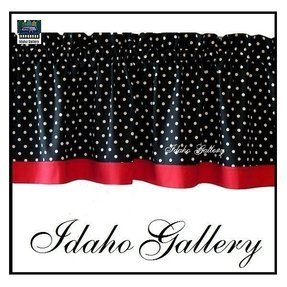 Polka dot black white red kitchen curtain or bedroom valance