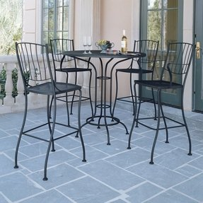 Aurora Wrought Iron Bar Height Bistro Set Includes Table 2