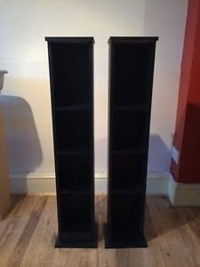 High Quality Black Dvd Or Cd Tall Storage Stand Stacking Rack Bookcase