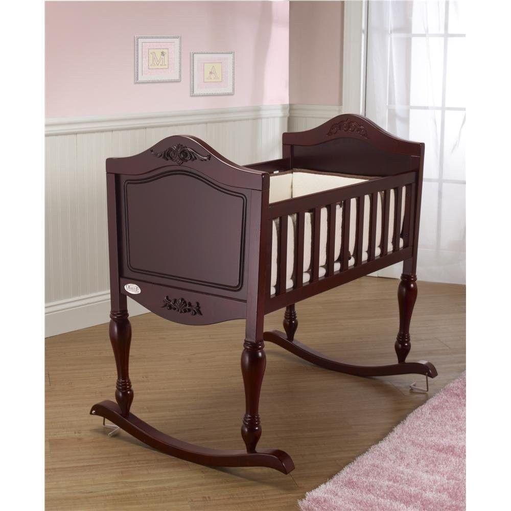 Details About Wood Rocking Cradle Crib Bassinet Baby Newborn Nursery
