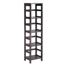 Elegant 4 Shelf Tall Wood Storage Shelving Narrow Ladder Style