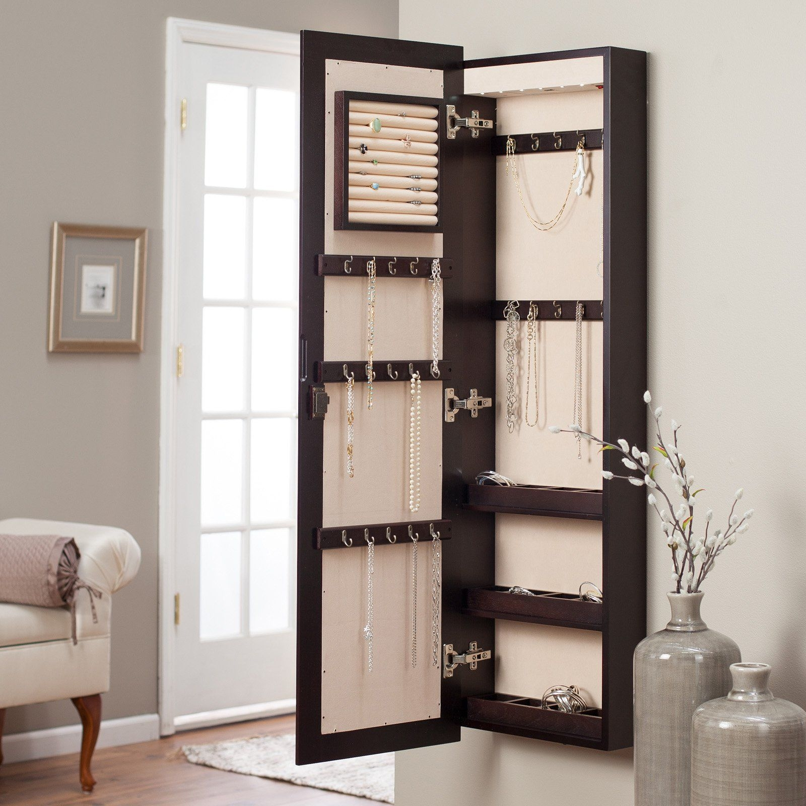 Gentil Inspiring Dark Wood Wall Mount Jewelry Armoire With Mirror For