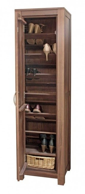 Modern solid walnut tall narrow shoe storage cupboard