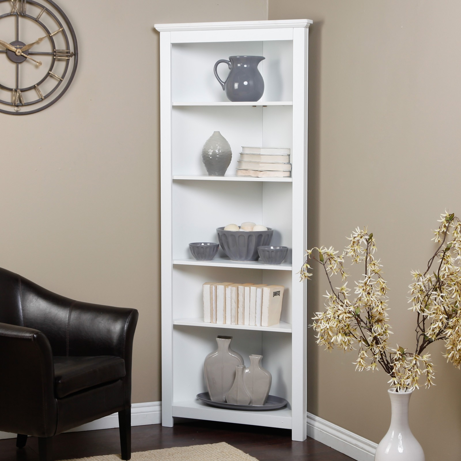 Redford White Corner Bookcase Traditional Bookcases Cabinets And