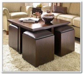 Round Coffee Table With Storage Ottomans 4