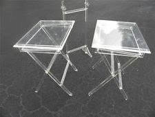 Schribe lucite acrylic folding snack tables with stand tv trays