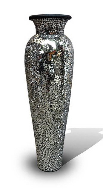 Silver mosaic tall lip vase home vases pottery floor vases