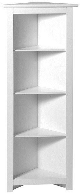 White Wood Finish Corner Shelf Unit Storage Shelf Bookcase Showpiece