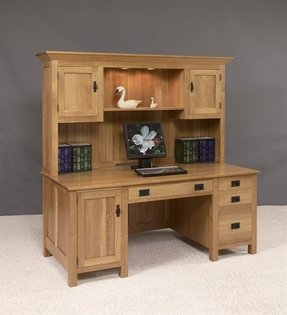 Wood Computer Desk With Hutch Foter