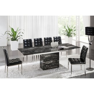 Black Marble Dining Table Set 1