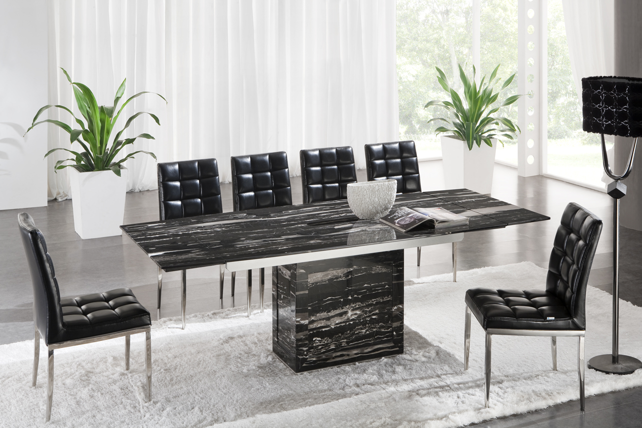 Black marble dining table set 1 & Black Marble Dining Table Set - Foter