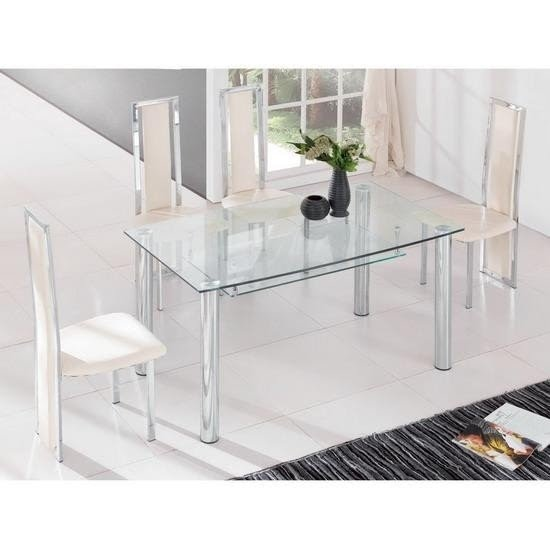 Clear Glass Dining Table With Shelf 4 Chairs Set