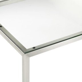 Glass top dining table with metal base foter
