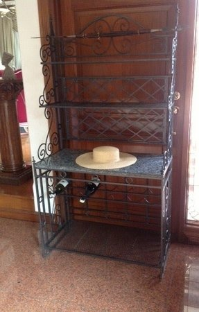 Granite and wrought iron bakers rack