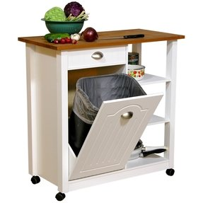 Kitchen cart with trash bin home garden compare prices