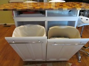 Kitchen island trash bins upper kitchen cabinet converted to