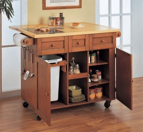 Kitchen Island With Garbage Bin For