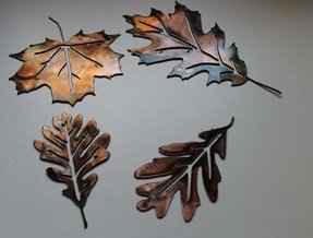 Metal wall art leaves set of 4 copper bronze plated