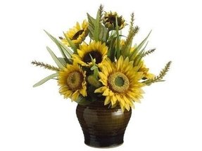 Of 2 artificial sunflower foxtail silk flower arrangement centerpieces