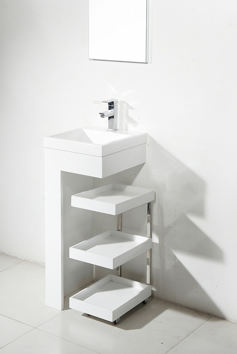 Resin Small Pedestal Sink Mobile Portable Vanity Cabinet Bathroom
