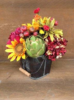 Rustic Floral Arrangement Sunflower Silk Centerpiece