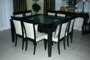 Square kitchen table seats 8