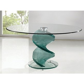 Swivel clear glass dining table