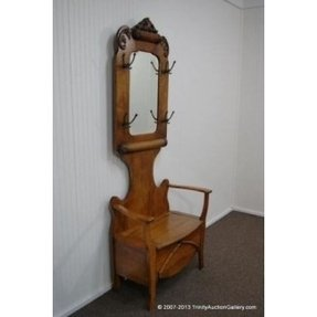 Hall Tree Storage Bench With Mirror Foter New Antique Wooden Coat Rack
