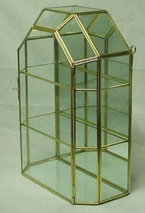Brass glass curio cabinet shelves display case for small treasures