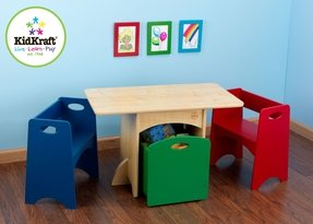 Kidkraft kids table and primary bench storage set 26161