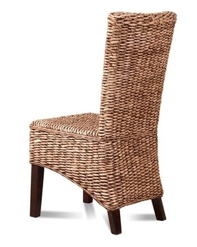 Rattan wicker dining room chair banana leaf weave solid mahogany