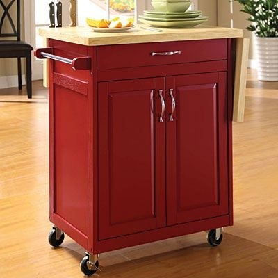 Bon Red Finish Kitchen Cart With Drop Leaf
