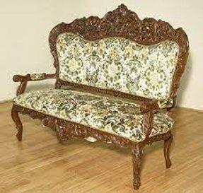 Vintage Walnut Heavily Ornate Victorian Sofa Chair Settee W Fl Fabric