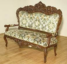 Vintage Walnut Heavily Ornate Victorian Sofa Chair Settee W/ Floral Fabric