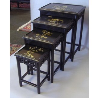 Blacl lacquer asian nesting table chinese carved lacquer wood nesting