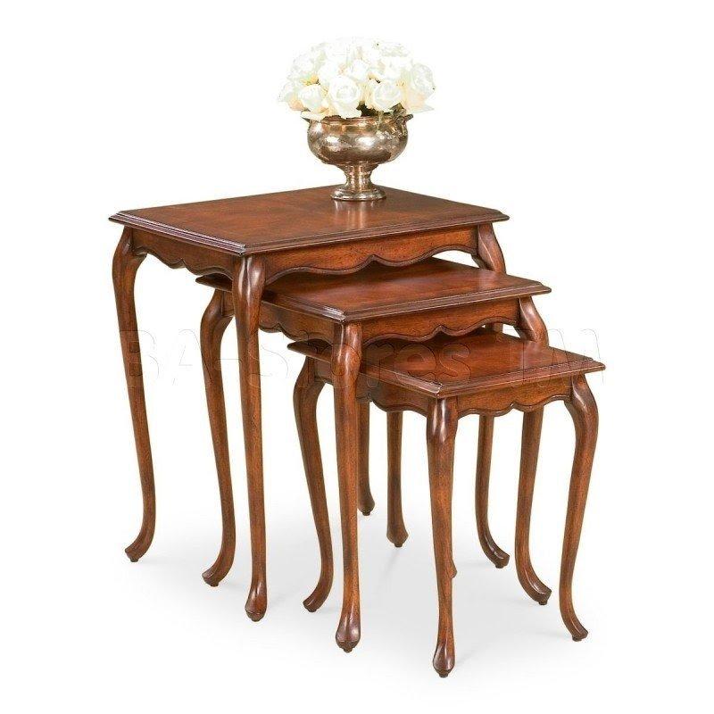 Frenchi Furniture Set of 3 Round Nesting Tables in Cherry Finish Accent Furniture Nesting Tables